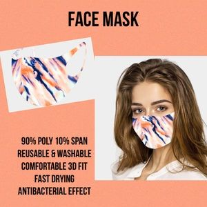 Accessories - Fashion Water Color Face Mask - Coral